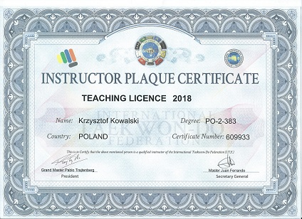 ITF Instructor plaque 2018 - Kopia